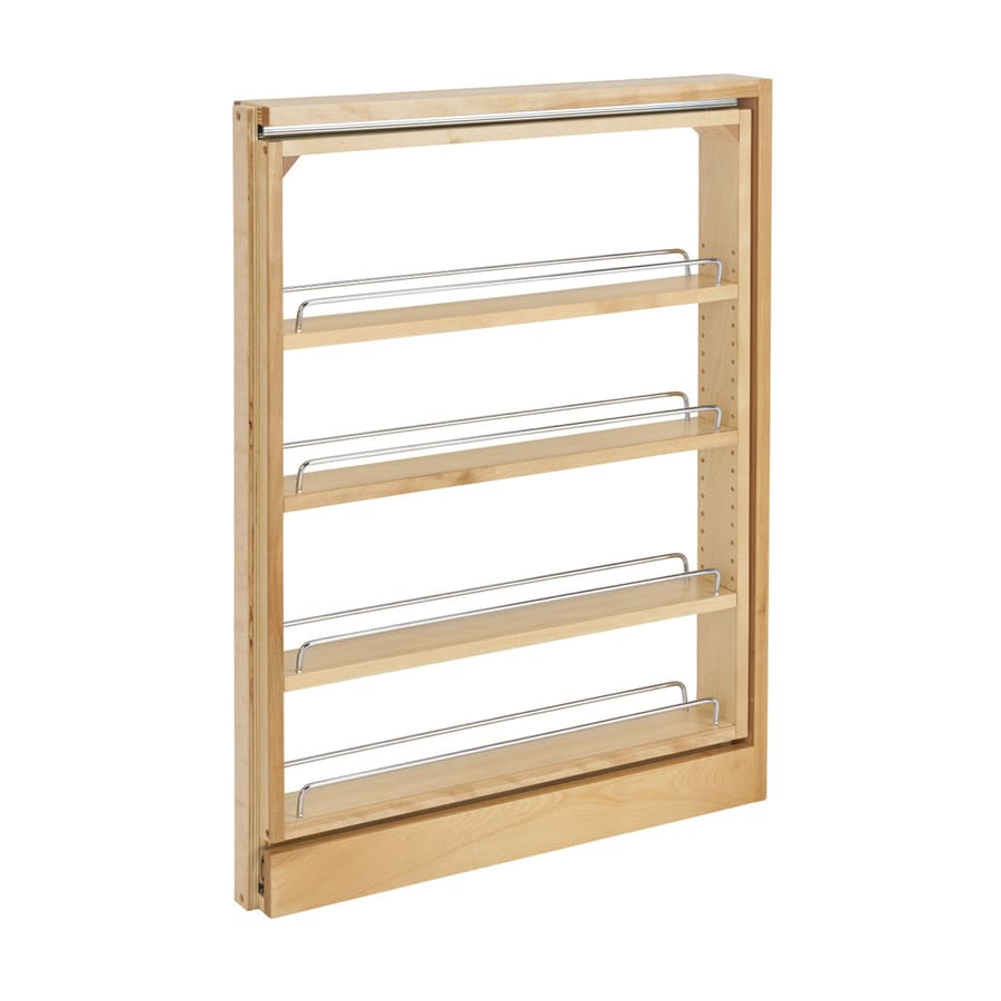 Shop rev a shelf 3 in w x 30 in 4 tier pull out wood for Sliding drawers for kitchen cabinets