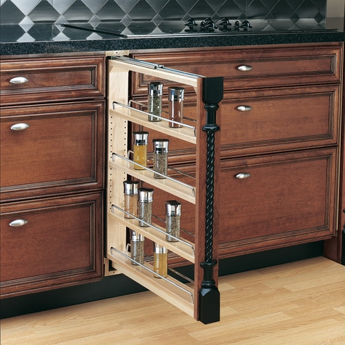 Rev-A-Shelf 3-in W x 30-in H 4-Tier Mounted Wood Spice Rack at ...
