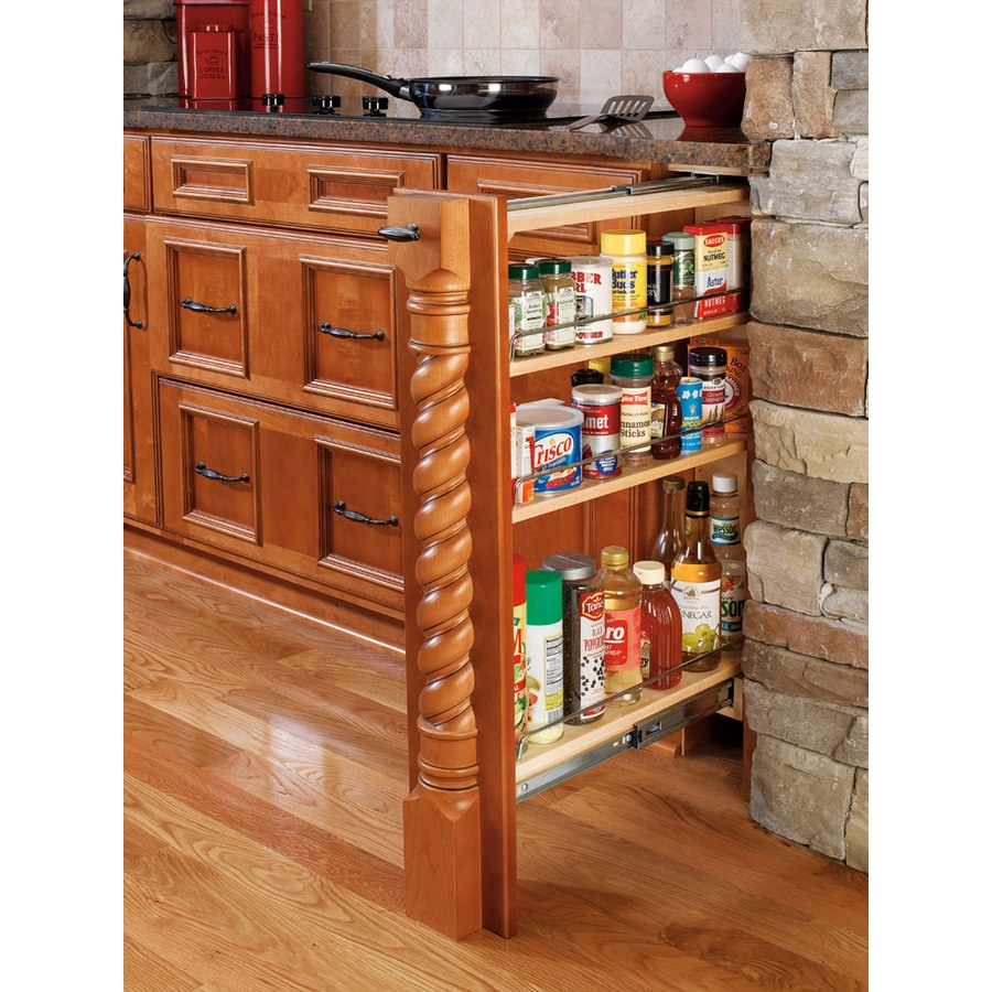 Shop rev a shelf 6 in w x 30 in h wood 4 tier pull out for Kitchen cabinet shelves