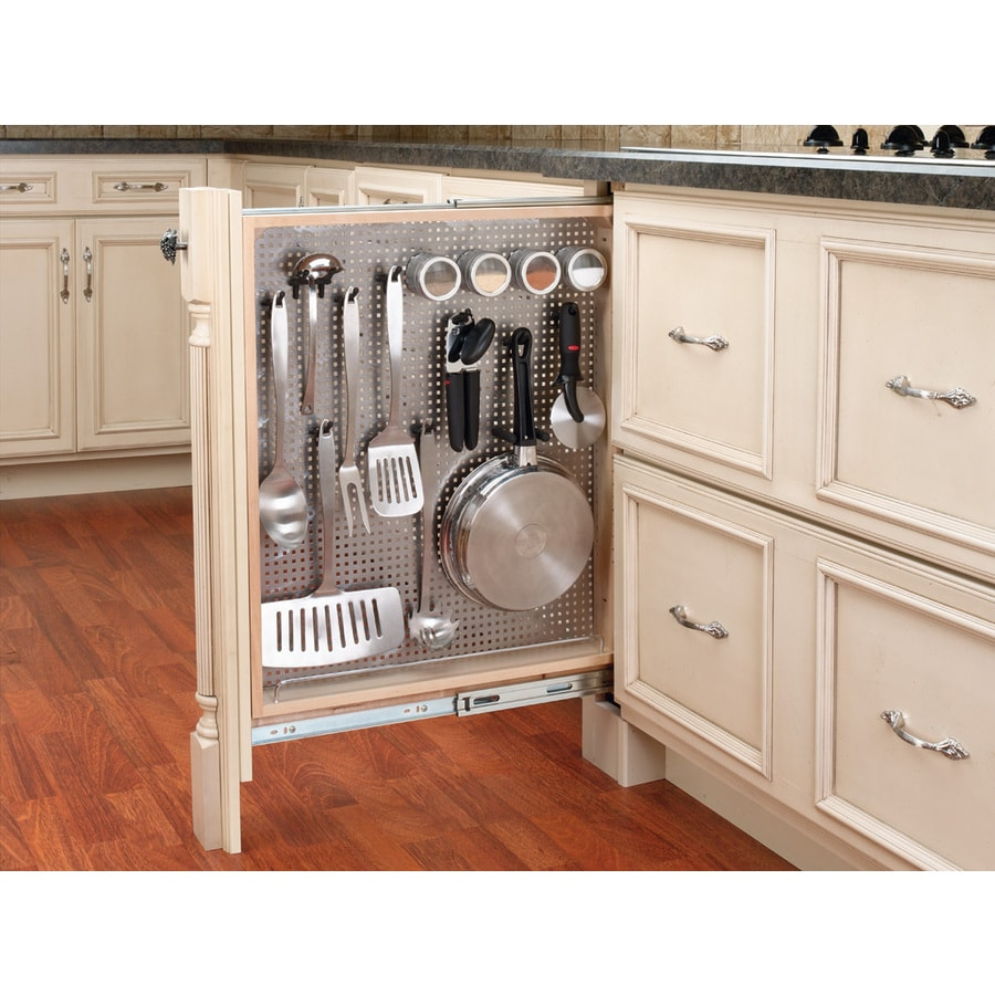Shop rev a shelf 3 in w x 30 in h wood 4 tier pull out for Kitchen cabinet organizers