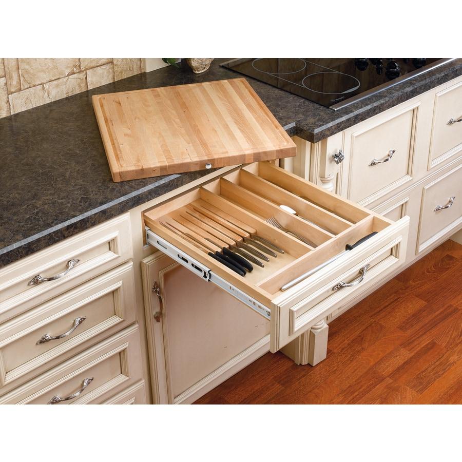 Rev-A-Shelf 22.25-in x 17.5-in Wood Cutlery Insert Drawer Organizer