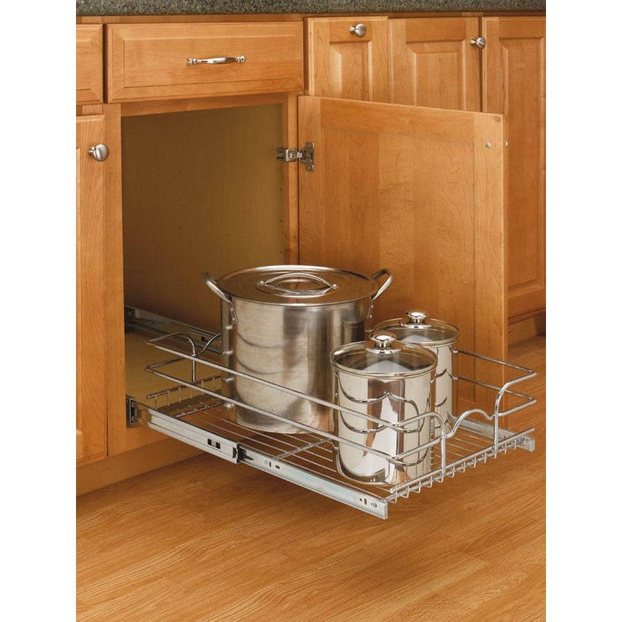 Shop rev a shelf w x 7 in h metal 1 tier pull out for Kitchen cabinet shelves