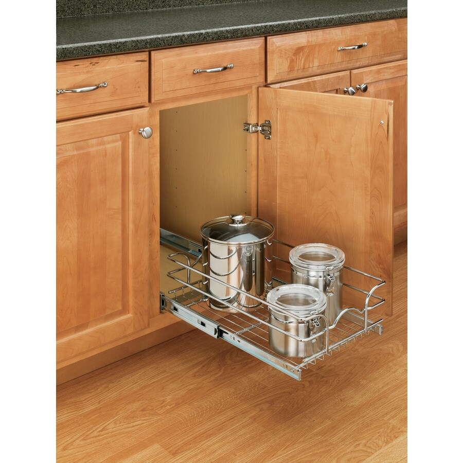 Shop rev a shelf w x 7 in h metal 1 tier cabinet basket at - Lowes kitchen shelving ...