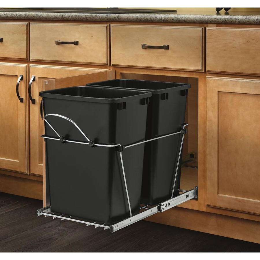 delightful Kitchen Garbage Cans Under Sink #9: Rev-A-Shelf 35-Quart Plastic Pull Out Trash Can