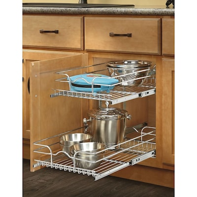 14.75-in W x 19-in H Metal 2-Tier Pull Out Cabinet Basket