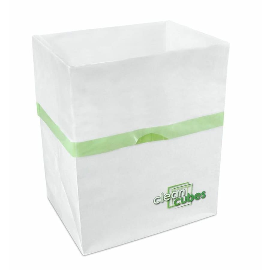 Clean Cubes 3 4-Gallon White with Green Trim Recycling Bin