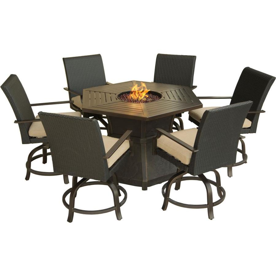 Hanover Outdoor Furniture Aspen Creek 7-Piece Brown Metal Frame Patio Set  with Natural Oat - Hanover Outdoor Furniture Aspen Creek 7-Piece Brown Metal Frame
