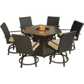 Hanover Outdoor Furniture Aspen Creek 7 Piece Brown Metal Frame Patio Set With Natural Oat
