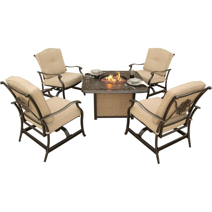 Hanover outdoor furniture traditions 5 piece aluminum frame patio conversation set with natural oat cushions