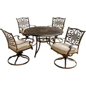 Hanover Traditions 5 Piece Bronze Metal Frame Patio Set With Natural Oat  Cushions