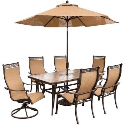 Tremendous Hanover Outdoor Furniture Monaco 7 Piece Bronze Metal Frame Frankydiablos Diy Chair Ideas Frankydiabloscom