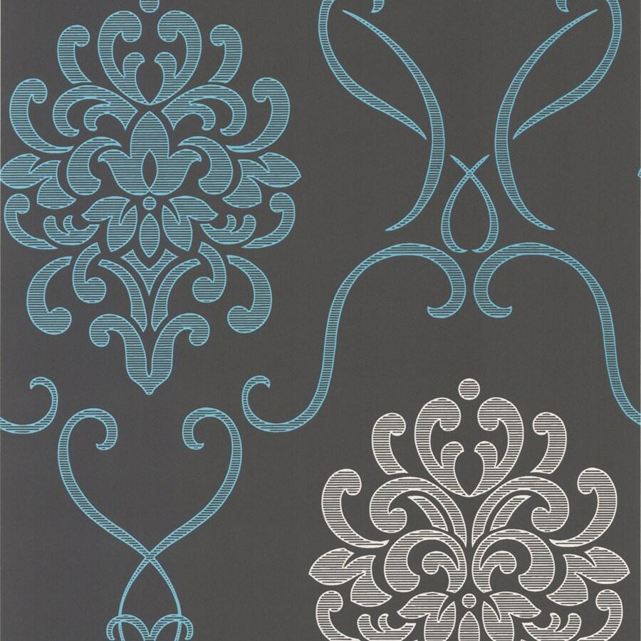 Brewster Wallcovering Aqua Paper Damask Wallpaper