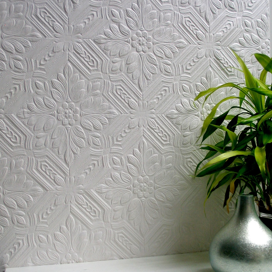 Shop brewster wallcovering anaglypta 56 4 sq ft paintable for Embossed wallpaper