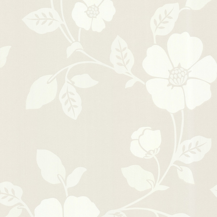 Brewster Wallcovering Cream Paper Floral Wallpaper