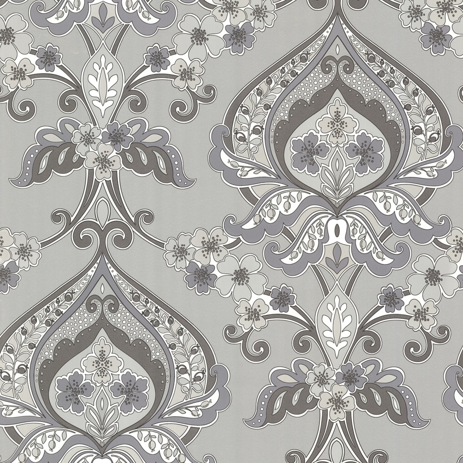 Brewster Wallcovering Silver Non-Woven Paisley Wallpaper
