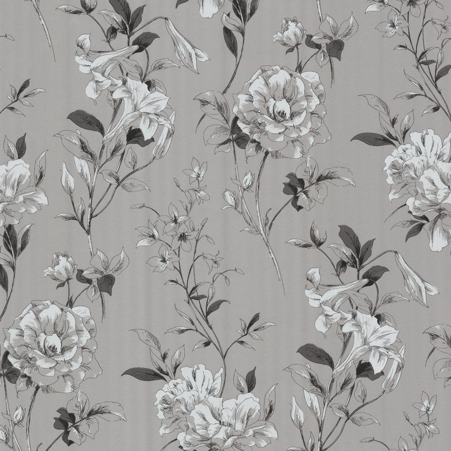Brewster Wallcovering Kitchen and Bath Resource III Gray Non-Woven Floral Wallpaper