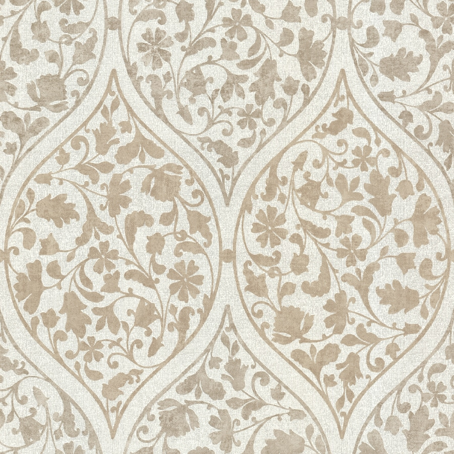 Brewster Wallcovering Beige Non-Woven Floral Wallpaper