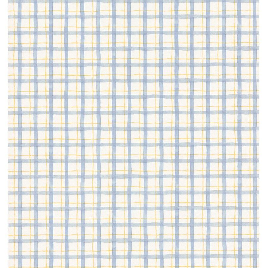 Brewster Wallcovering Blue And Yellow Plaid Wallpaper