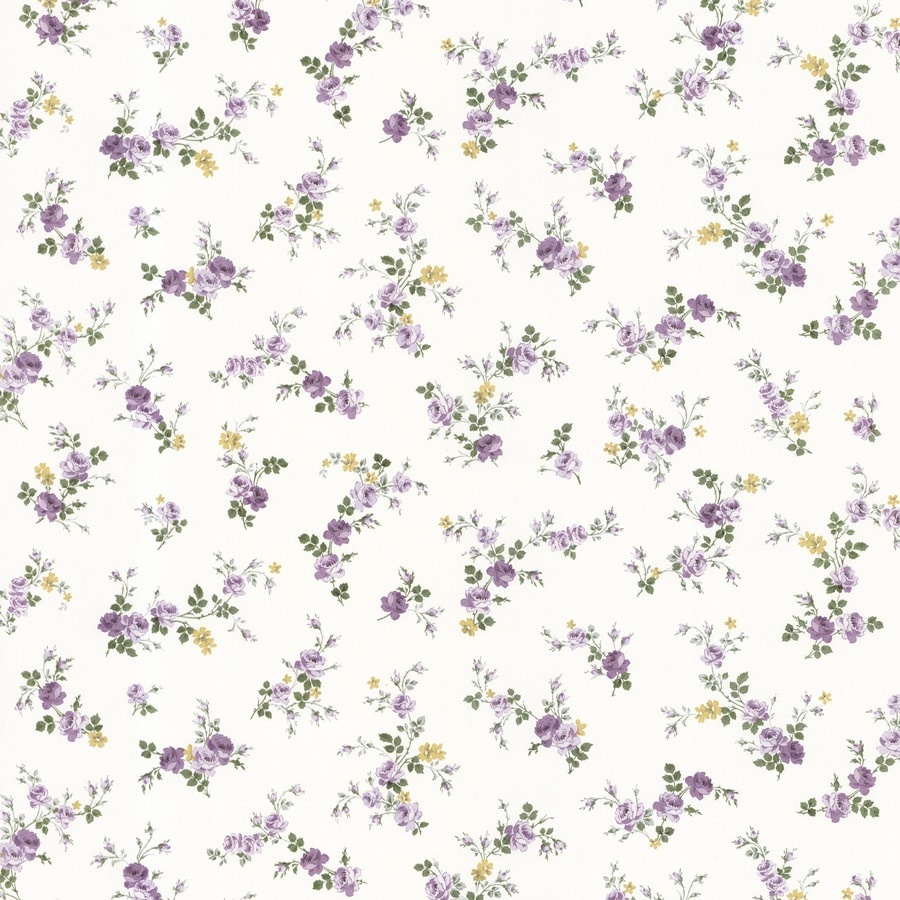 Brewster Wallcovering White Vinyl Floral Wallpaper