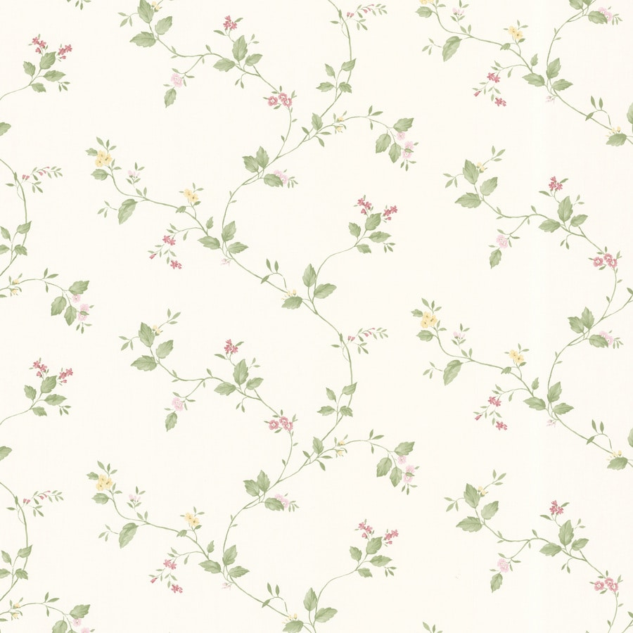 Brewster Wallcovering Cream Vinyl Floral Wallpaper