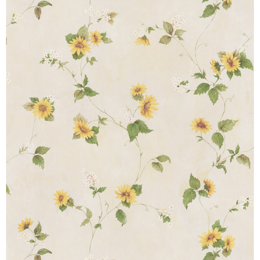 Brewster Wallcovering Yellow Sunflower Peelable Vinyl Prepasted Wallpaper