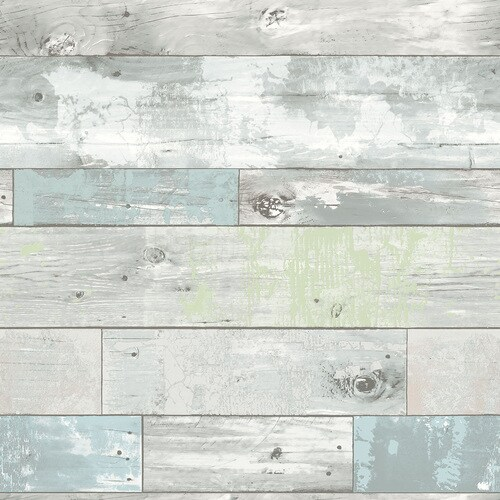 Nuwallpaper Peel And Stick 30 75 Sq Ft Blue Vinyl Wood Self Adhesive Peel And Stick Wallpaper In The Wallpaper Department At Lowes Com