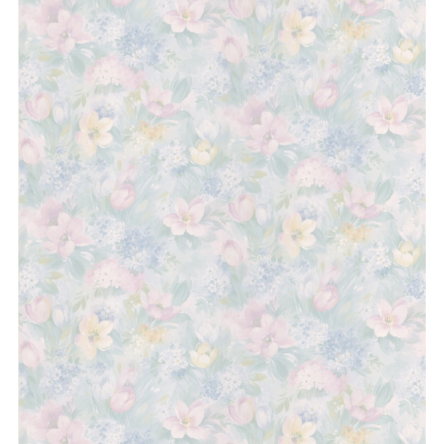 Brewster Wallcovering Light Blue Floral Pattern Wallpaper