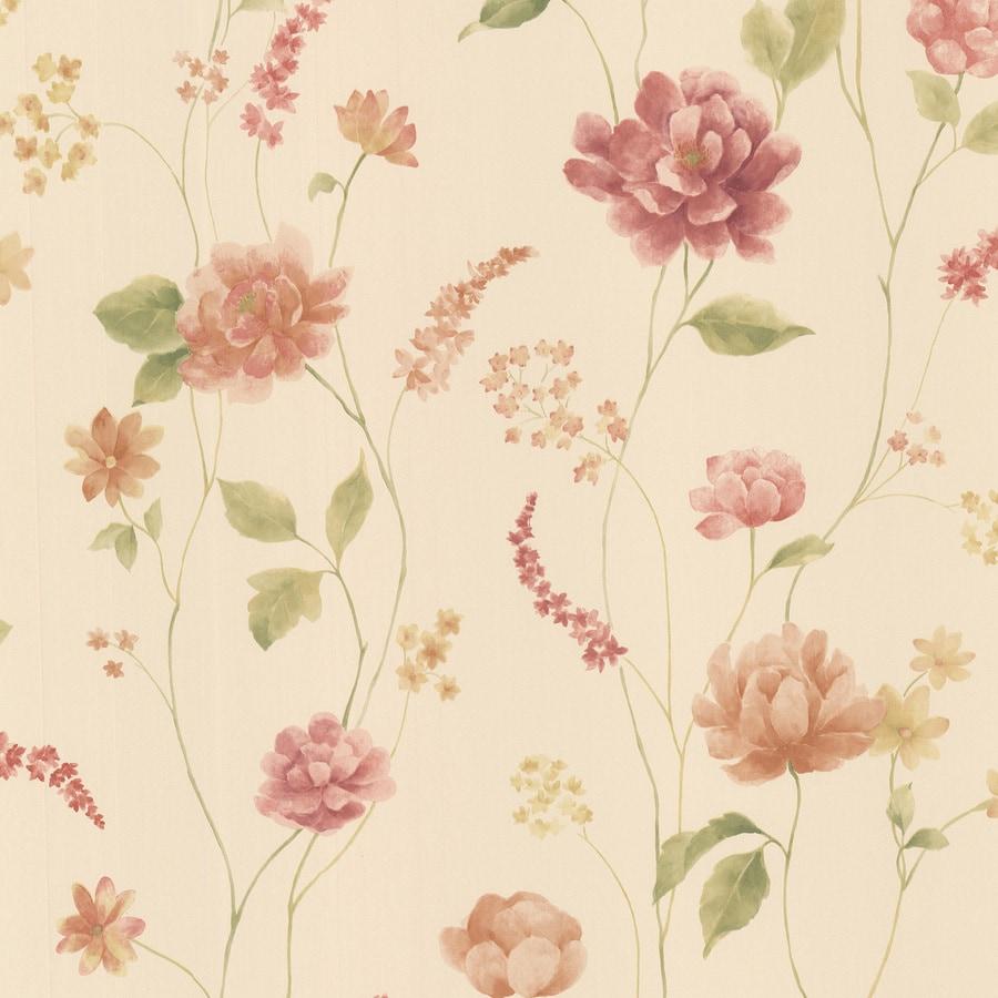 Brewster Wallcovering Beige Vinyl Floral Wallpaper