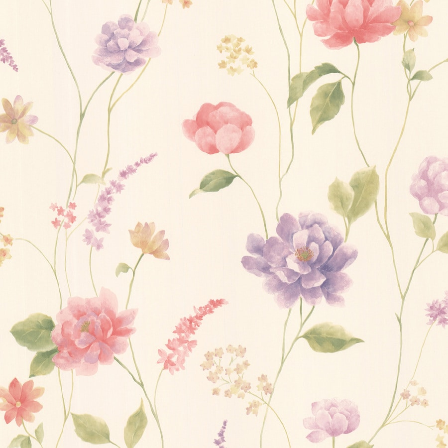 Brewster Wallcovering Kitchen and Bath Resource III Cream Vinyl Floral Wallpaper