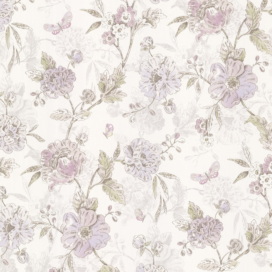 Brewster Wallcovering Kitchen and Bath Resource III Purple Vinyl Floral Wallpaper