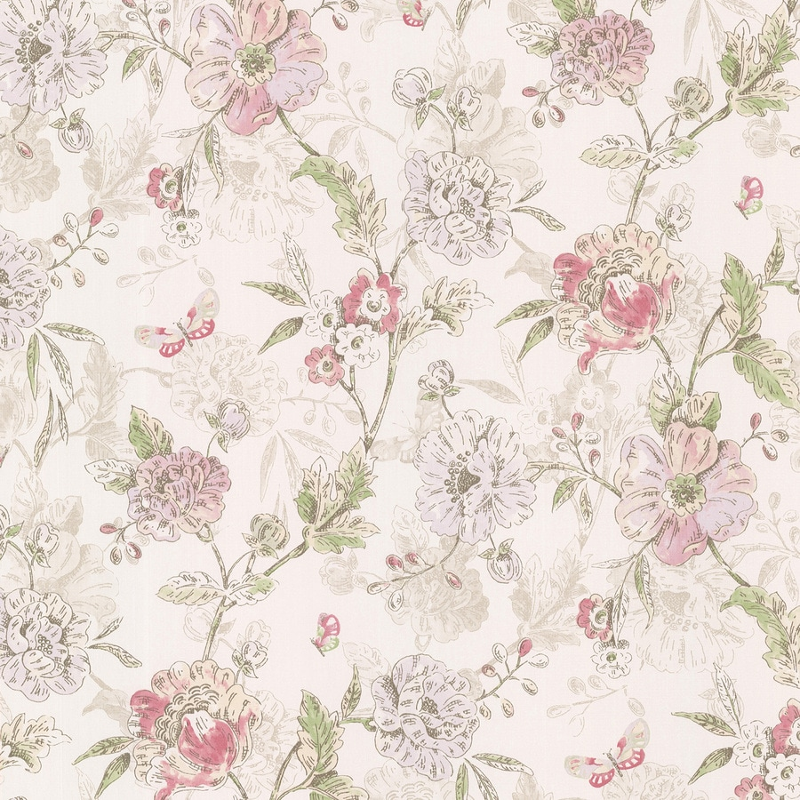 Brewster Wallcovering Kitchen and Bath Resource III Pink Vinyl Floral Wallpaper