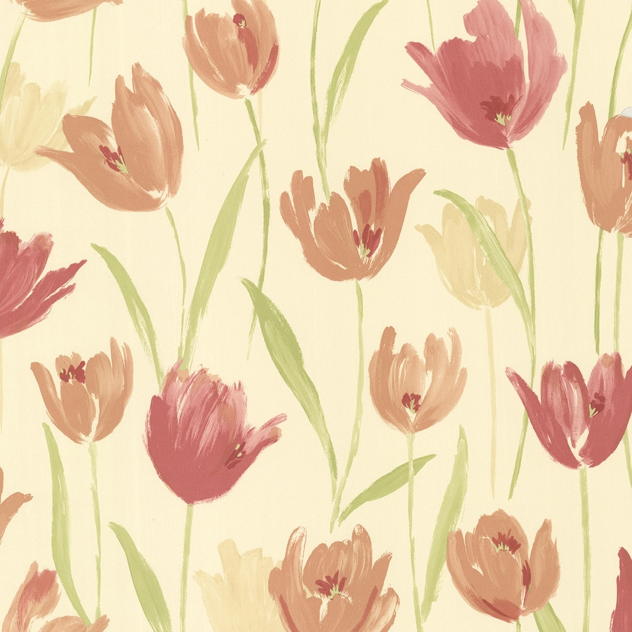 Brewster Wallcovering Yellow Vinyl Floral Wallpaper