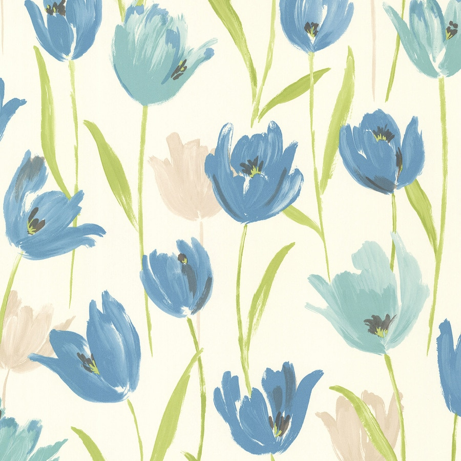 Brewster Wallcovering Kitchen and Bath Resource III 56-sq ft Blue Vinyl Floral  Wallpaper