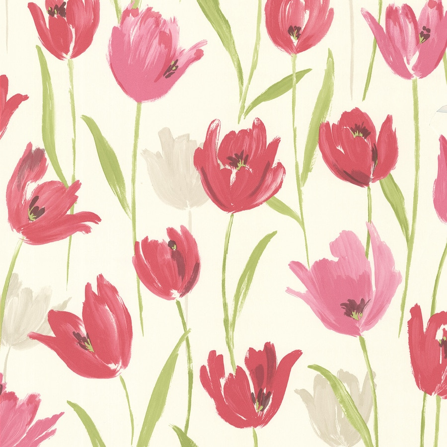 Brewster Wallcovering Kitchen and Bath Resource III 56-sq ft Pink Vinyl Floral  Wallpaper
