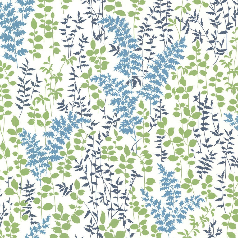 Brewster Wallcovering Kitchen and Bath Resource III Blue Vinyl Floral Wallpaper