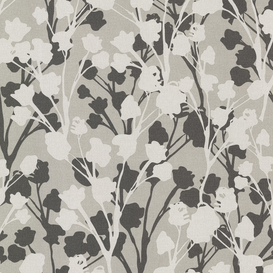 Brewster Wallcovering Gray Vinyl Floral Wallpaper