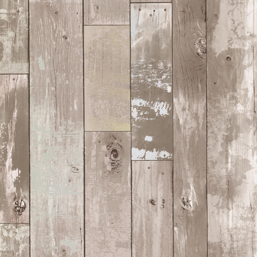 Shop brewster wallcovering kitchen and bath resource iii 56 sq ft taupe vinyl wood wallpaper at - Wood effect bathroom wallpaper ...