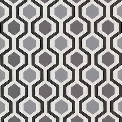 Kitchen And Bath Resource Iii 56 4 Sq Ft Gray Vinyl Geometric Prepasted Paste The Paper Wallpaper