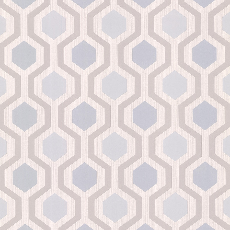 Brewster Wallcovering Blue Vinyl Geometric Wallpaper