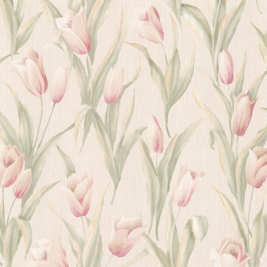 Brewster Wallcovering Beige Vinyl Floral Wallpaper