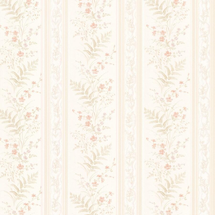 Brewster Wallcovering Kitchen and Bath Resource III Cream Vinyl Floral Stripe Wallpaper