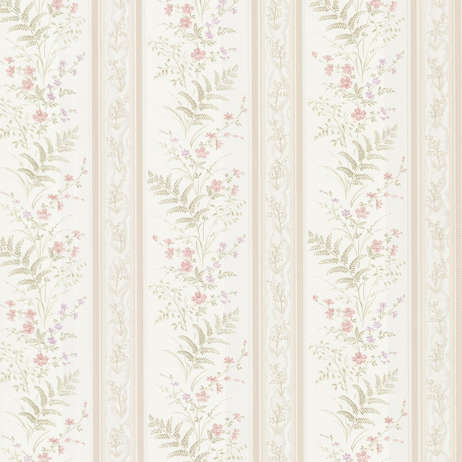 Brewster Wallcovering Cream Vinyl Floral Stripe Wallpaper