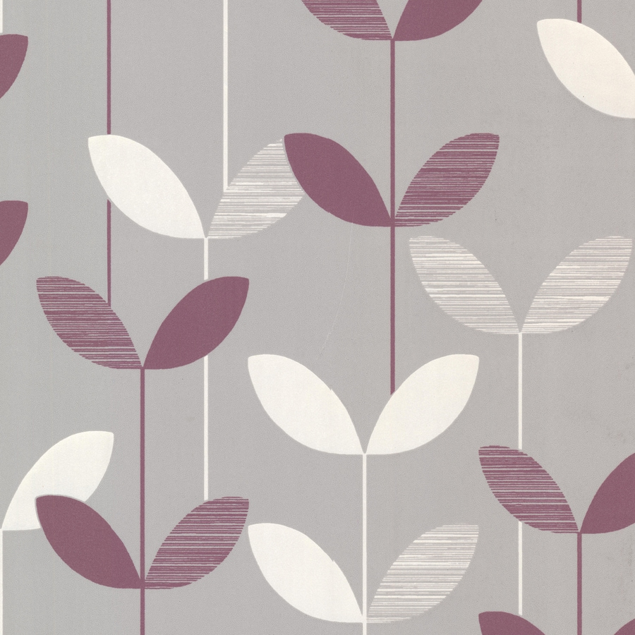 Brewster Wallcovering Elements Purple/Grey Non-Woven Ivy/Vines Wallpaper