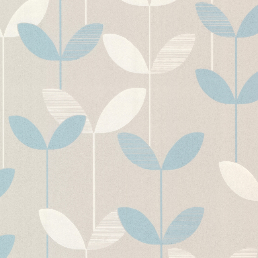 Brewster Wallcovering Light Blue/Grey Paper Ivy/Vines Wallpaper