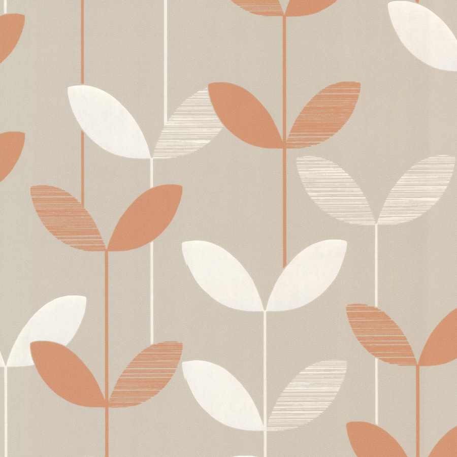 Brewster Wallcovering Elements Orange/Grey Non-Woven Ivy/Vines Wallpaper