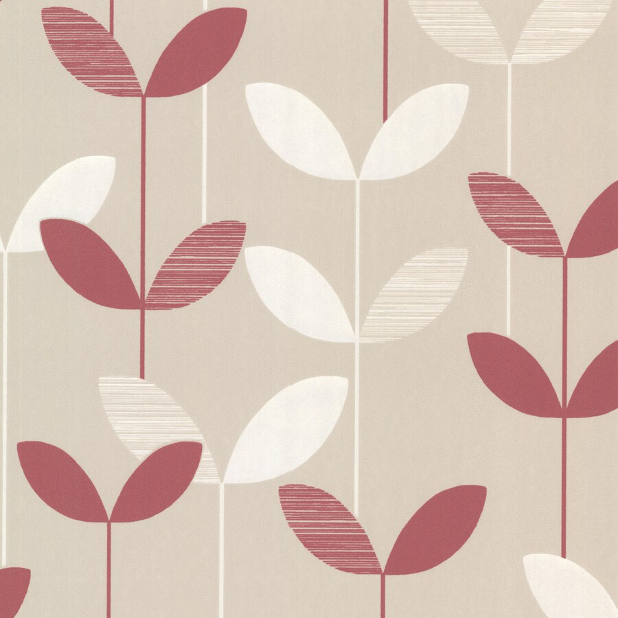 Brewster Wallcovering Elements Pink/Cream Non-Woven Ivy/Vines Wallpaper