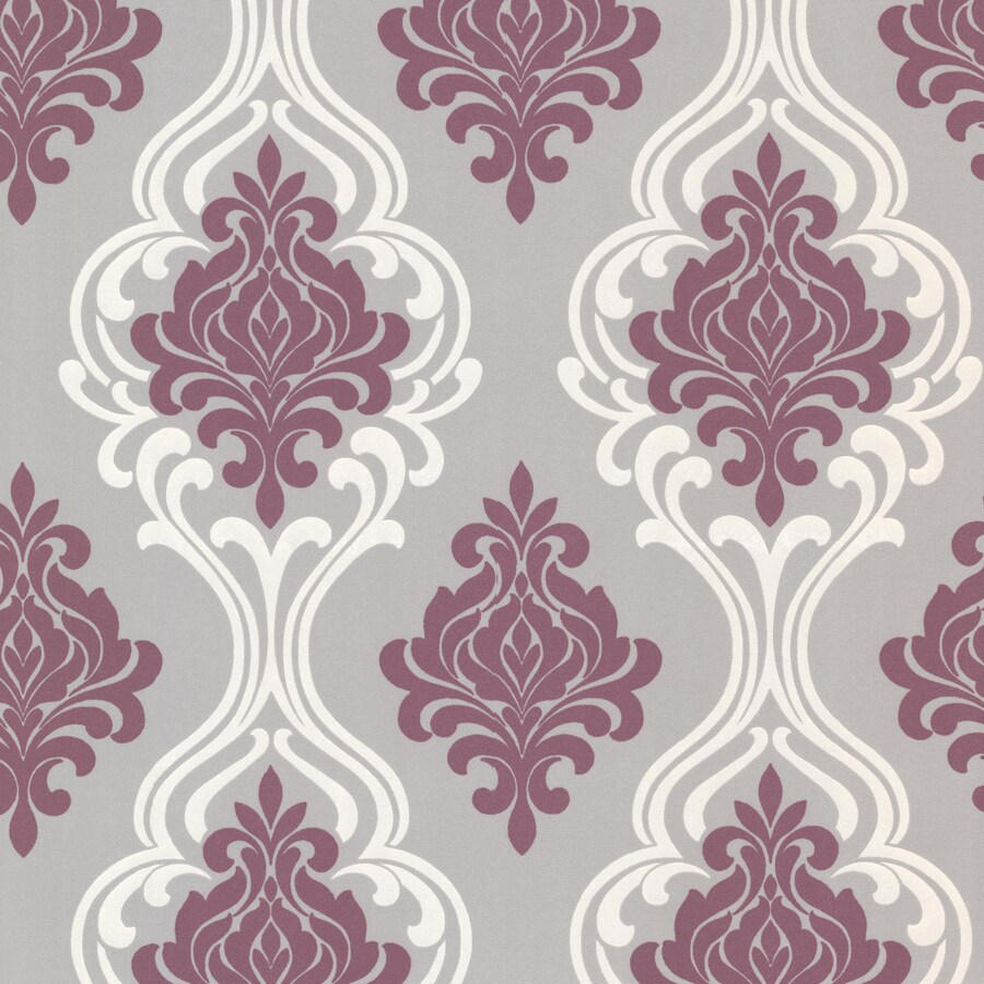 Brewster Wallcovering Purple/Grey Paper Damask Wallpaper