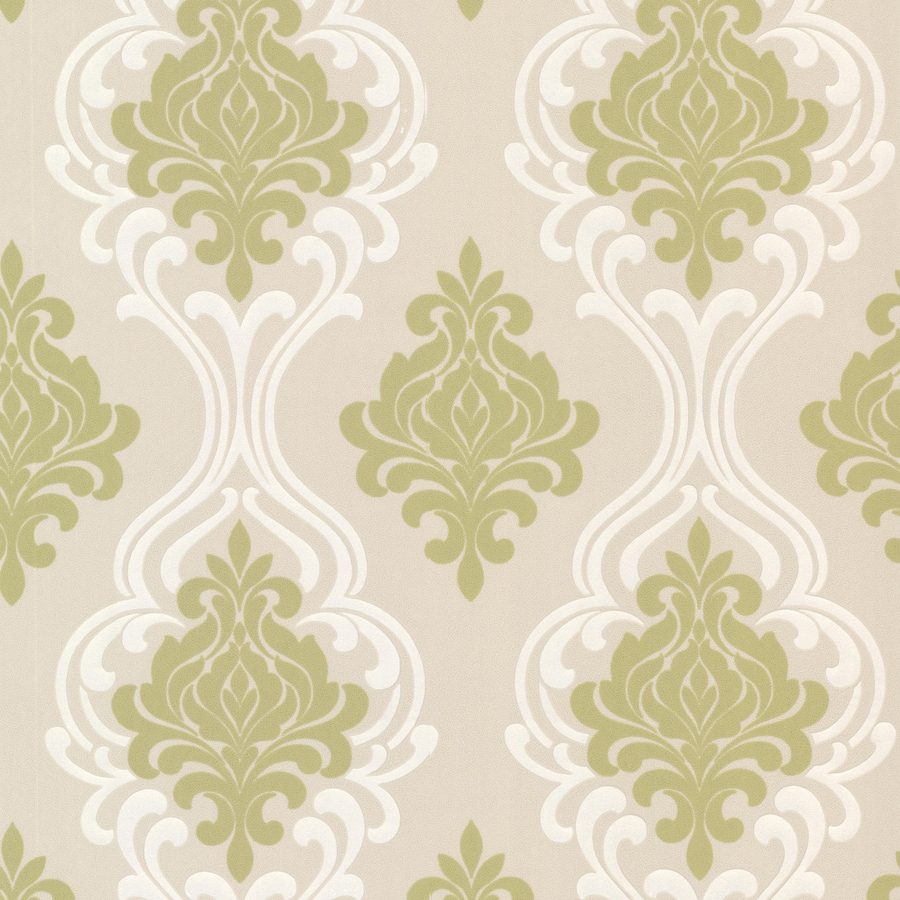 Brewster Wallcovering Light Green/Cream Paper Damask Wallpaper