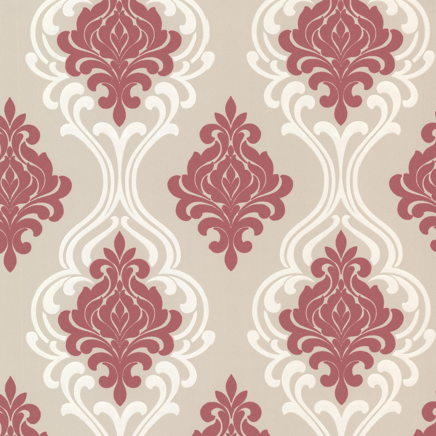 Brewster Wallcovering Elements Pink/Grey Non-Woven Damask Wallpaper