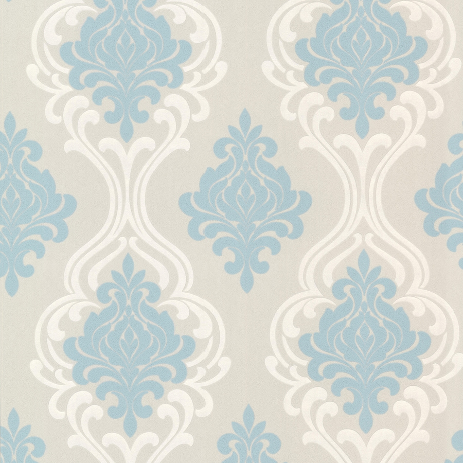 Brewster Wallcovering Elements Light Blue/Grey Non-Woven Damask Wallpaper